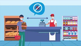 Social distancing campaign with supermarket salesman and man customer