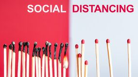 Free Social Distancing Concept Using Burnt Out Match Sticks As A Metaphor For Containing Corona Virus Outbreak Stock Image - 175812121