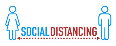 Social distancing icon with word
