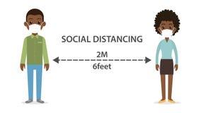 Free Social Distancing Man And Woman Character Wearing Medical Mask Stock Photo - 184348940