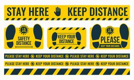 Free Social Distancing. Please Keep Your Distance. Safe Distance. Place The Yellow Floor Sticker At A Distance From The Floor Royalty Free Stock Photo - 184588265