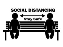 Free Social Distancing Stay Safe Stick Figure On Bench. Illustration Arrow Depicting Social Distancing Guidelines And Rules During Stock Photos - 183704523