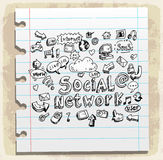 Social doodles set paper note, vector illustration Royalty Free Stock Photography