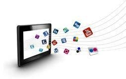 Social e ícones dos media com tabuleta Fotos de Stock Royalty Free