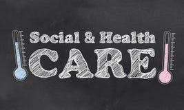 Social e cuidados médicos ilustração stock