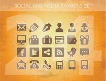 Social e pictograma dos media ajustados isolados Imagens de Stock