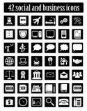 Social e vetor ajustado ícones do negócio Imagens de Stock