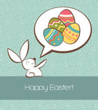 Social Easter bunny with painted egg Stock Photography