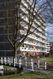 Social and elderly housing. Apartment block from the 70's in a green environment. At the moment a lot of the apartments are used as social housing and for the Royalty Free Stock Image