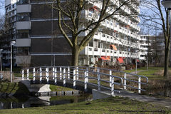Social and elderly housing. Apartment block from the 70's in a green environment. At the moment a lot of the apartments are used as social housing and for the Royalty Free Stock Images