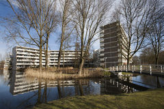 Social and elderly housing. Apartment block from the 70's in a green environment. At the moment a lot of the apartments are used as social housing and for the Royalty Free Stock Photography