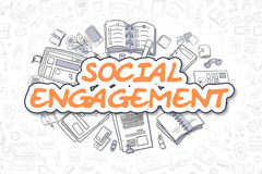 Social Engagement - Doodle Orange Text. Business Concept. Social Engagement Doodle Illustration of Orange Text and Stationery Surrounded by Doodle Icons Stock Photos