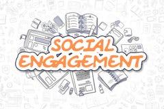 Social Engagement - Doodle Orange Text. Business Concept. Stock Photos