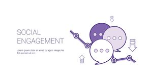 Social Engagement Web Banner With Copy Space Business Content Marketing Concept. Vector Illustration royalty free illustration