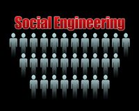 Social engineering. Concept image in black background vector illustration