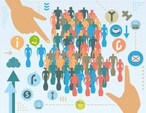 Social engineering concept. Social engineering in social media concept with hands, crowd, icons, infographics elements and grunge texture vector illustration
