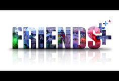 Social Friends Icon Logo. The word Friends is isolated on a white background with different people in photos for the background. There is a add sign for new Stock Photo
