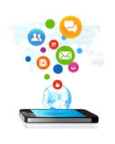 Social global business. Technology Telecommunications  Media Technologies Royalty Free Stock Images