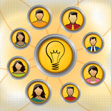 Social Group Idea. A group of people gather to come up with an idea Stock Photo