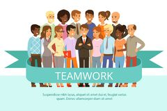 Social group on the work. Office people in casual clothes. Big corporate family. Vector characters in cartoon style stock illustration