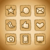 Social Hand Drawn Icons Set Stock Photo