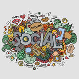 Social hand lettering and doodles elements Stock Images