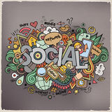 Social hand lettering and doodles elements Royalty Free Stock Photos