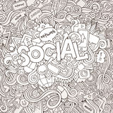 Social hand lettering and doodles elements Royalty Free Stock Image