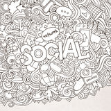 Social hand lettering and doodles elements Stock Photos