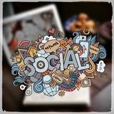 Social hand lettering and doodles elements and Stock Photos