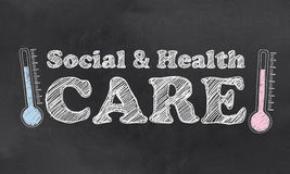Social and Health Care. On Blackboard with Thermometres Royalty Free Stock Photo