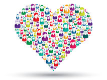 Social heart. Social love: A heart made of icons to express love people in social media Royalty Free Stock Photos