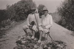 DT00035 HUNGARY CIRCA 1930`s Hunters with Gun and Hound royalty free stock photography