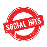 Social Hits rubber stamp. Grunge design with dust scratches. Effects can be easily removed for a clean, crisp look. Color is easily changed Stock Images