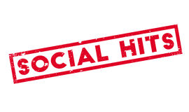 Social Hits rubber stamp. Grunge design with dust scratches. Effects can be easily removed for a clean, crisp look. Color is easily changed Stock Image