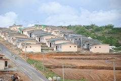 Social housing in Africa. Beautiful distant views of social housing reduces cost to Africa to facilitate the homes of people optention to have a roof Stock Photos
