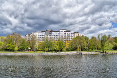 Social housing complex. Near a canal in Berlin Kreuzberg Stock Photo