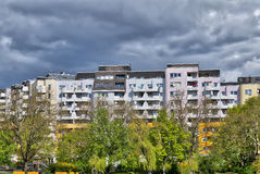 Social housing complex. And park in Berlin Kreuzberg Royalty Free Stock Photo