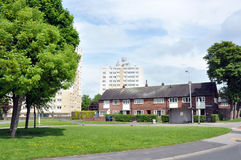 Social Housing Estate. Council social housing estate in Northern Britain with houses and tower blocks Stock Image