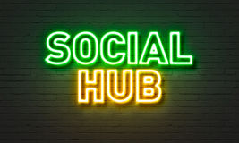 Social hub neon sign on brick wall background. Social hub neon sign on brick wall background Stock Images
