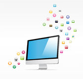 Social icon group element computer. Pc display Stock Photography