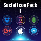 Social Icon Pack One Blue Background Vector Image Stock Photos
