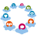 Social icons on the cloud Stock Photo