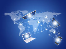 Social icons and devices on world map. Modern communication technology illustration with social icons and devices on world map Stock Photography
