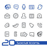 Social Icons // Line Series. Vector icons set for your web or presentation projects Royalty Free Stock Image