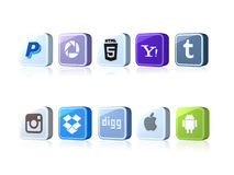 Social icons. Social Media Icons with large pixel on white background.10 icons paypal, html5, yahoo, thumblr, instagram, dropbox, digg, apple, andorid,picassa Stock Image