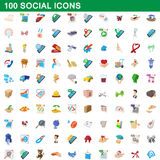 100 social icons set, cartoon style Stock Images
