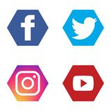 Social icons set fb twitter instagram youtube vector illustration