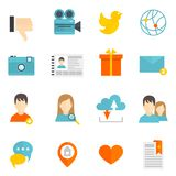 Social icons set flat Royalty Free Stock Photo