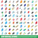 100 social icons set, isometric 3d style Royalty Free Stock Images
